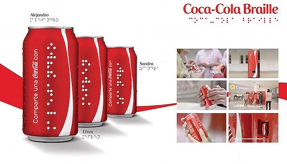 """可口可乐为视障人士设计了盲文""""昵称瓶""""图片"""