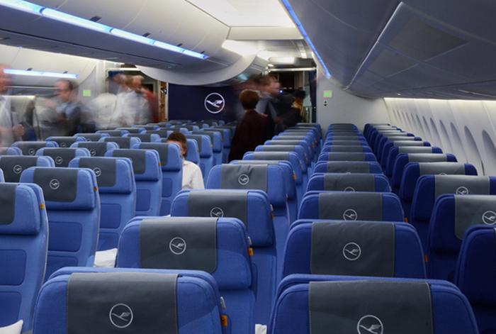 飞机内饰也能换装 汉莎航空为A350经济舱优化了室内设计