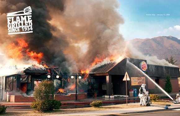 汉堡王以2004年火灾为素材的广告