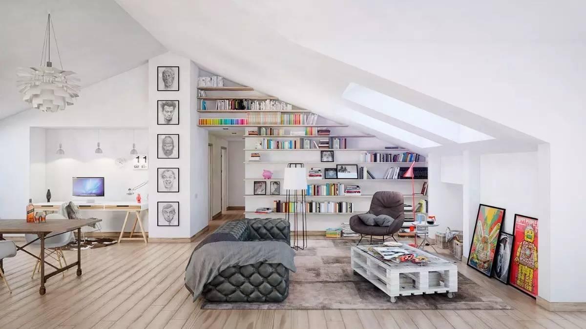 是客廳也是書房 隨著書櫥的增加 窗戶邊的剩余面積 閣樓之中,亦是
