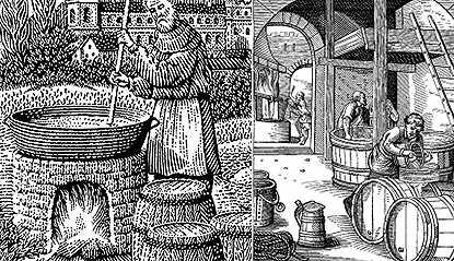 中世纪酿造啤酒图片