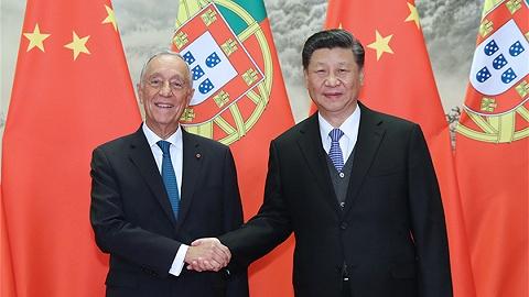国家主席习近平同葡萄牙总?#36710;?#32034;萨举行会谈