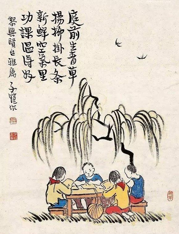"""""""春在卖花声里"""",丰子恺漫画中的春天,闻得到青草杨柳香"""