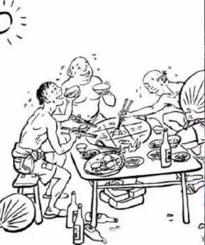 本土啤酒),大口吃肉大碗喝酒,高潮处,把上衣一脱,一只脚踩上长条凳,面