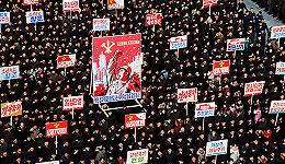 朝鲜十万人冒严寒露天集会 响应金正恩讲话