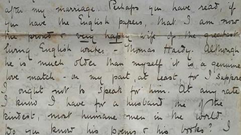"""最新发现的哈代之妻书信:""""我与世上最善良的男人在一起"""""""