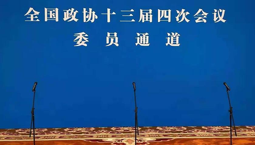 """全国政协十三届四次会议第三场""""委员通道""""采访活动"""