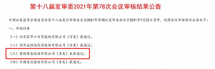 凤凰城平台老铺黄金IPO被否,下周10家公司IPO上会,招标股份将闯关创业板