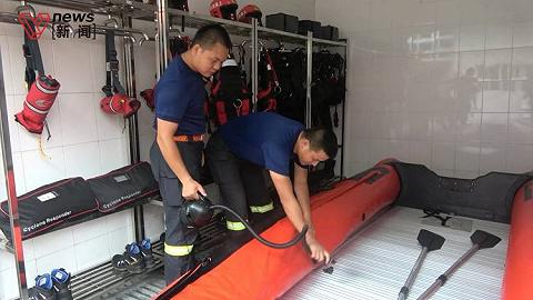 """""""灿都""""转为橙色预警,上海金山区消防救援支队组织应急救援工作"""